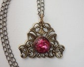 Vintage Red Downton Abby Style Necklace with Vintage Glass