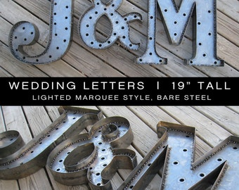 Bare Steel Marquee Wedding Initials - set of 3