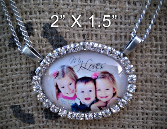 Silver and Rhinestone Photo Necklace with suede backing