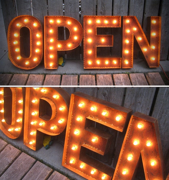 "19"" Tall OPEN LETTERS, marquee lights with patina"