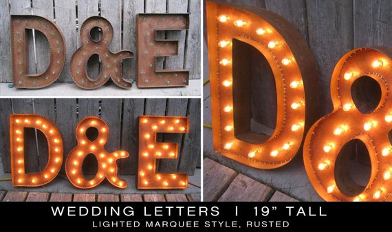 Rusted Marquee Wedding Initials - set of 3