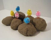 Easter fuzzy Chicks in Surprise Stones Fun Activity for children and adults Set of 6 SALE