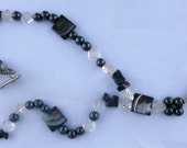Midnight Sky Hematite Stone and Glass Beaded Necklace With Metal Heart Toggle Clasp