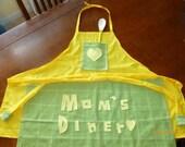 Mom's Diner Dish Towel Yellow Fabric Apron
