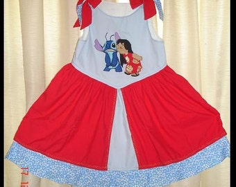 Lilo and Stitch Appliqued Princess sundress(-----)Custom designed(-----)Sizes 2T-girls size 8