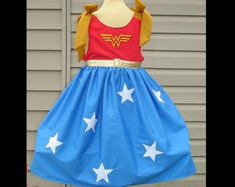 Custom Wonder Woman Embroidered and Appliqued Sundress(-----)Sizes 12M to girls size 8