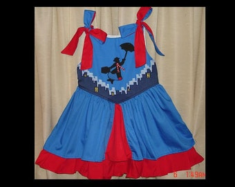 Mary Poppins Appliqued Princess Custom Sundress(-----)Shoulder Ties(-----)Sizes 12 months to Girls size 8