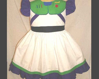 Buzz Lightyear Dress(-----)Princess(-----)Appliqued Panel Buttons like Buzz's(-----)Sizes 12 Months to Girls size 8