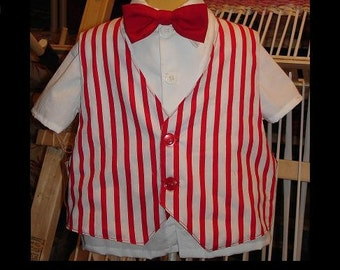 Disney's Mary Poppins Bert Vest and White Collared shirt(-----)Red Bowtie(-----)Sizes 12 Months to Boys size 6