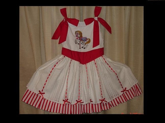 Mary Poppins Carousel Custom Embroidered Dress(-----)Sizes 12 Months to Girls size 8