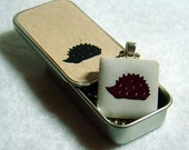 Mr. Hedgehog - a ceramic tile pendant