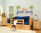 Personalized Surf Shop Palm Tree Vinyl Wall Decor Decal Item KC16