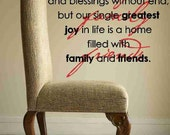 Our lives are filled with simple joys - Family Friends Blessings - Vinyl Wall Art