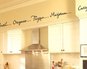 Kitchen Words Spices Wall Border Soffit Border Vinyl Wall Decor Decal Item KD115 - 1 Set