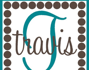 Personalized Vinyl Wall Decal Name and Initial - Item KS124