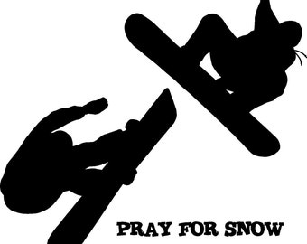 Pray for Snow - Snowboarder Vinyl Wall Decal