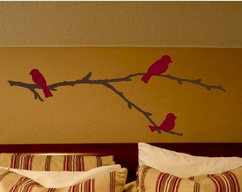 Birds on a branch - vinyl wall decal