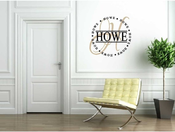 Personalized Last Name Circle with Script Initial - Vinyl Wall Art