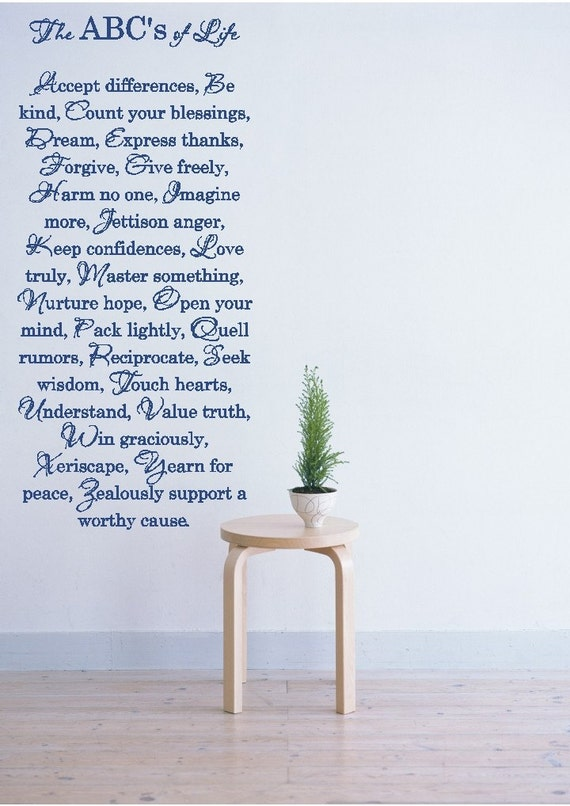 The ABC's of Life - Vinyl Wall Art Decal