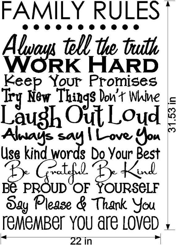 Family Rules LARGE Vinyl Decal