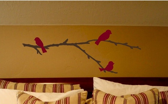 Birds on a branch - vinyl wall decal