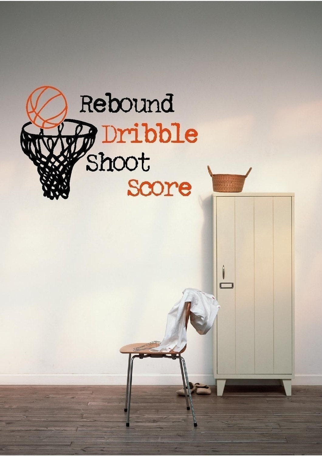 Basketball hoop vinyl wall decal bsk535 for Basketball wall decals
