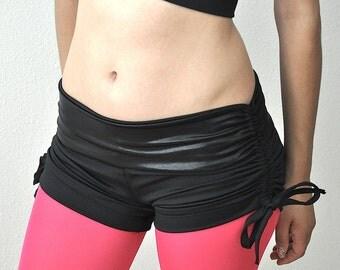 Hot Yoga Shorts Black Metallic Low Rise SXYfitness Brand Item #4061 Sizes xxs-xxl (00-18 US)