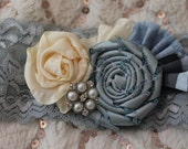 Azure Garter, Flat dk pale blue elastic lace garter, with rosettes, pleats and pearl/rhinestone accent
