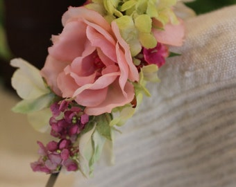 Sweet Peas, Roses and butterflies- Flower Girl or Easter Headband.. Bead Centers Spring Palette