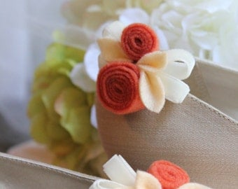 Wedding or Dress- Hint of fall, felt and velvet shoe clips