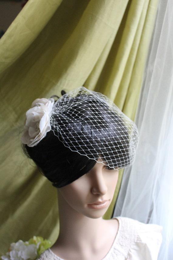 "WEDDING VEIL- small bandeau Bridal Veil  in 9"" Russian veiling"