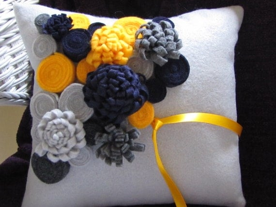 Wedding - rolled rose and mum ring pillow, grey base, choose your flower colors, felt