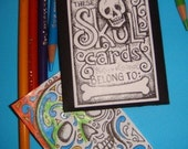 SKULLS- coloring cards. aceo size drawings, like a pocket sized coloring book.