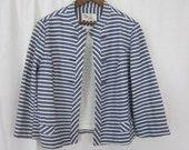 Vintage Blue & White Striped Jacket (size small)