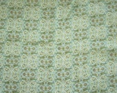 Vintage Cotton Fabric Remnant - Green Flowers & Birds