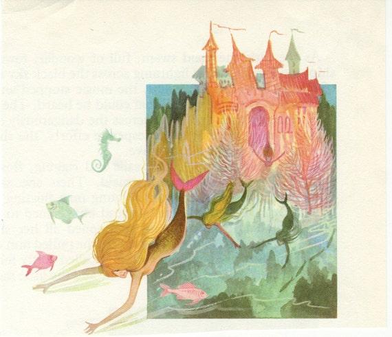 Vintage Illustration - Mermaid & Castle