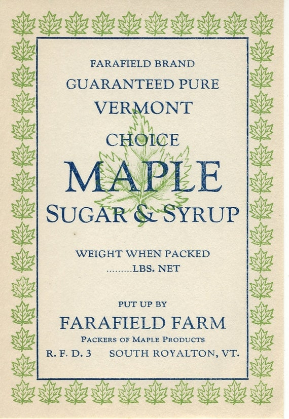 VINTAGE Label - Vermont Maple Sugar & Syrup - Paper Ephemera