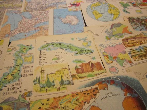 Maps - Vintage Ephemera Collage & Scrapbooking Kit 32pcs