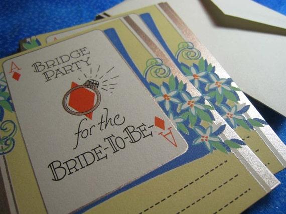 SALE - VINTAGE Bridge Party For The Bride Invitation Cards
