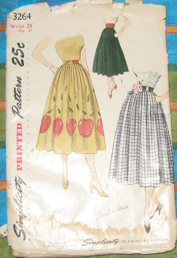 simplicity sewing pattern pleated skirt by thevintagemode