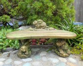 Rabbit Lover's Bench for the Miniature Fairy Garden, Antiqued and Custom Painted