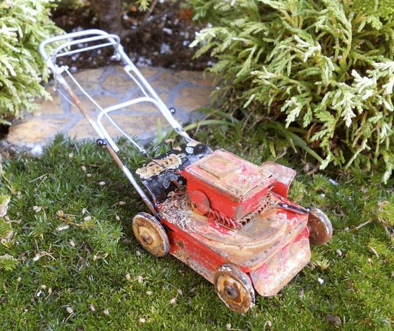 Old Lawn Mower Left Out in the Miniature Fairy Garden, Rustic, Aged, Weathered