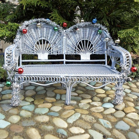 Holiday Bench for Miniature Fairy Garden Silver with Christmas Lights Decor