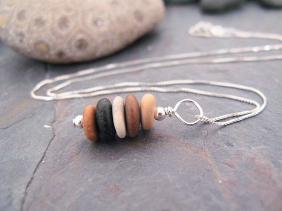 Stone Stack Necklace- beach stone cairn