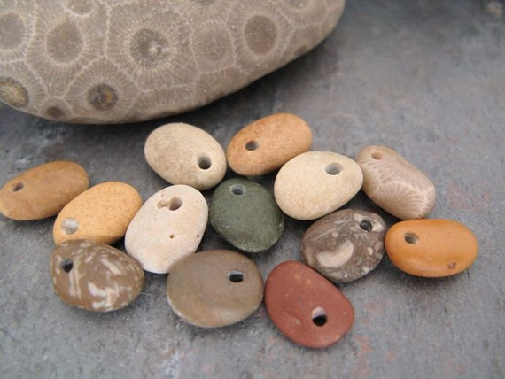 "Drilled beach stone charm beads for jewelry - ""Sweet Charms"" by BeachStoneSoup"
