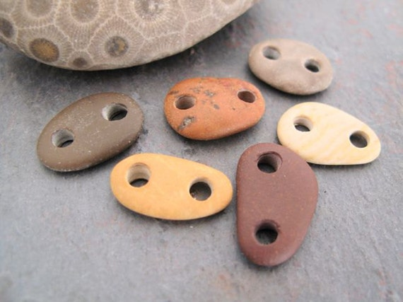 Drilled beach stone connector beads by BeachStoneSoup - Artistic Links