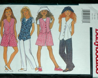 Butterick 3921 Sz 7 8 10 Girls Vest, Top, Shorts, Pants and Hat UNCUT