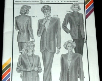 Stretch and Sew 1023 Bust Sz 30 32 34 36 38 40 42 44 46 Misses Blazer Cardigan UNCUT