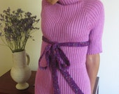 Lavender mohair- acrylic short sleeves stretchy turtle neck with extra long belt.