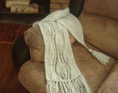 SALE Asymmetrical light mint mohair lace scarf 80 by 9 inches - was 75